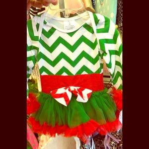 Other - Red white & green Christmas onesie and tutu dress